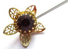 pic épingle à chapeau cravate bijou ancien plaqué or fleur cristal améthyste 48
