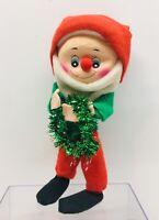 "Vintage Christmas Elf / Dwarf Japan?  Felt  Bendable Doll 10 1/2"" Tall"