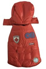 Old Navy Dog Supply Co Vest XS Red Puffer Quilted Removeable Hood Pocket Patches
