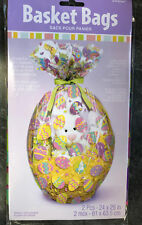2 x Easter Eggs Hamper Wrap cellophane Basket Gift Wrap Large Cello Basket BAG