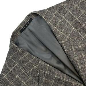 Mint ! 46 L Armani Collezioni  Natural Grey Winowpane Plaid Slim Fit Wool Blazer