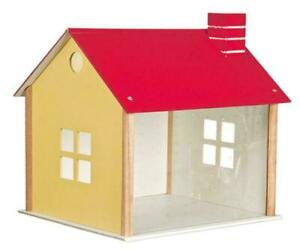 CUSTOM KIT DOLL HOUSE DISPLAY ROOM SHADOW BOX W/RED ROOF MADE OF WOOD  ALL NEW
