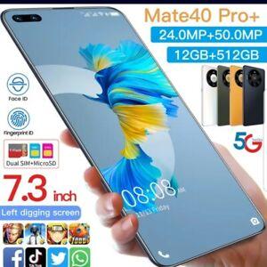 SMARTPHONE Mate40 Pro+ 7.3 Inch Full Screen Deca Core 6000mAh color orange