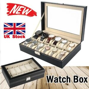 12 Grids Leather Watch Display Case Jewelry Collection Storage Holder Box UK