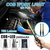 USB Rechargeable COB LED Slim Work Light Flashlight Inspection Lamp Magnetic