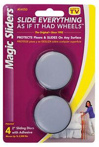 Magic Sliders  Plastic  Floor Slide  Gray  Round  2 in. W 4 pk Self Adhesive