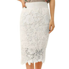 Womens Crotch Lace Knee Length Skirt Soft Stretch Flared Swing Skater Skirts