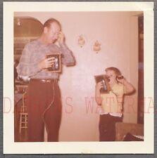 Vintage Color Snapshot Photo Dad Man & Cute Boy Talking on Telephones 688855