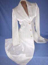 Banana Republic White Satin Coat Jacket Tapered Trench Princess GORGEOUS Nwt S