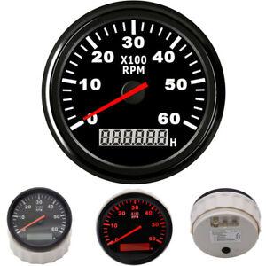 85mm Car Marine Tachometer Boat Gauge Digital Hourmeter Waterproof 0-6000 RPM