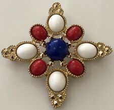 Vintage Sarah Coventry Red White Blue Glass Maltese Cross Pin Brooch