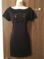 VERSACE MEDUSA MOTIF EMBOSSED MINI  DRESS IN BLACK UK 10-12 *SUMMER DRESS* £220