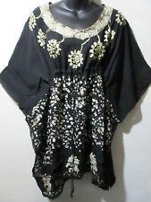 Top fits XL 1X 2X PLUS Black White Batik Drawstring Long Tunic Caftan NWT G200