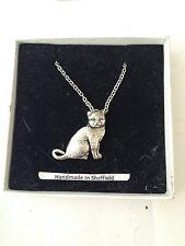 "British Short Hair Cat PP-C03 Emblem on Silver Platinum Plated Necklace 18"""