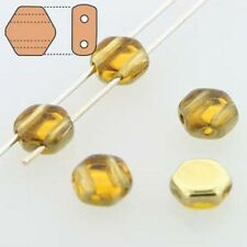 Topaz Amber 30pc 6mm 2-Hole Czech Glass Honeycomb Beads