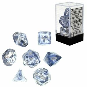 Chessex Nebula Polyhedral 7-Die Dice Set Black/Clear & White NEW
