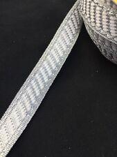 15mm Silver White Stripe Ribbon Trim Braid Gimp xmas - 1m