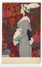Postcard of lady with dog by Mela Koehhler (C18759)