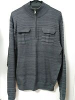 Men's Size Large Express Gray Striped 2 Pocket Half Zip Mock Neck Sweater