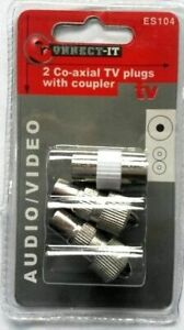 2 Pack CoAxial TV Plugs WITH COUPLER Co-Axial-Sockets Audio Video TV - W163