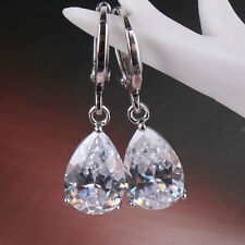 18K white gold filled Pear white topaz Shiny Luxurious lady dangle earring