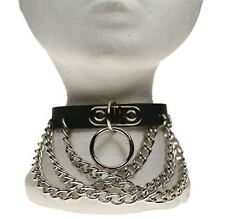Gothic Punk 1 Row Handle Plate w/Overlapping Chain Leather Neckband NB280