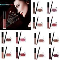 Matte Lipstick Long Lasting Waterproof Makeup Lip Liquid Pencil Gloss Liner Set