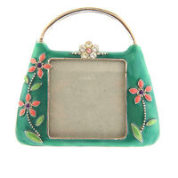 Rhinestone Enamel Handbag Photo Frame Green Floral 4x4
