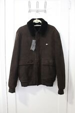 European Lacoste men's lambskin coat shearling NWT brown aviator bomber jacket