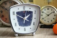 Blue Metal Alarm Clock Chinese Diamond Clock Vintage Mechanical Wind Up Clock