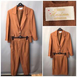 Eastex Heirloom Collection Women's Brick Orange Smart 3 Piece Suit UK 12 EUR 38