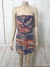 SWEETAEACIA Sz 12 Strapless Tie Dyed Stretch Above Knee Dress Stretch Waist
