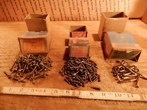 antique wood screws 1 1/4 in., 3/4 in. X # 7, lot BRASS slotted fastener QTY 252
