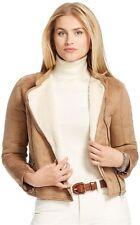 New $175 RALPH LAUREN Womens Size L Faux-Suede Moto Jacket Sherpa-Lined Beige