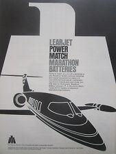 7/1977 PUB MARATHON NICKEL CADMIUM BATTERIES LEARJET AIRCRAFT ORIGINAL AD