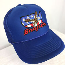 Vintage Snap On Tools Rope Trucker Motorcycle Blue Racing Snapback Hat Cap 80s