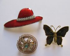 - flower in circle - red hat Fashion Pin/Brooch Set Of 3 Pins- butterfly