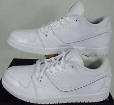 New Mens 14 NIKE Air Jordan 1 Flight 2 Low White Leather Shoes $95 654465-120