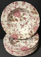 "Beautiful JOHNSON BROTHERS Rose Chintz~Pink~4 Pasta Bowls(s)~8 3/4""~Pink"