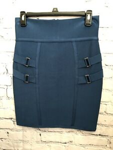 New bebe high waist utility bandage Skirt Sz M Blue Opal