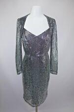 VTG 80s Handmade Silver Sequin Lamé Illusion Sleeve PROM Evening NYE Dress M/L