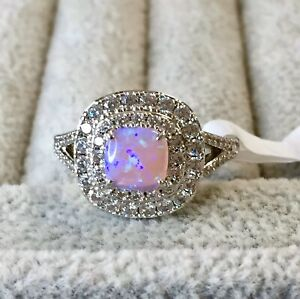 💗 Beautiful Size 8 Pink Opal & Sparkly Stones Ring Bomb Party Rhodium - WOW! 😍