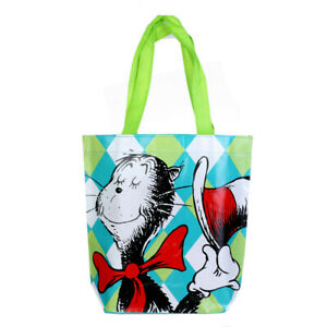 Dr. Seuss Recycled Shopping Tote Bag, Cat In the Hat Green Reusable Kids Shopper