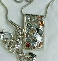 Brighton Bejeweled Crystal Silver Pendant  Necklace Preloved w/ Dust Bag
