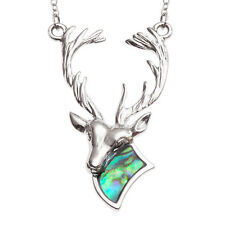 """Stag Necklace Paua Abalone Shell Deer Pendant Silver Fashion Jewellery 18"""" 45cm"""