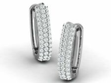 Huggies Earrings 0.80 ct round cut Diamonds prong setting 14k White Gold Plated