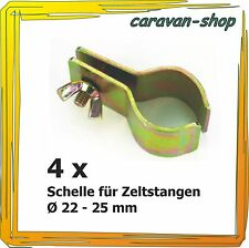 4 x Rohrschelle 22 - 25 mm, Rohrklemme Schelle Zeltstange - Vorzelt, Camping