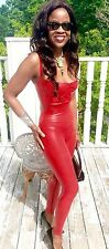 New Custom full length Lipstick red dressy Latex rubber catsuit Jumpsuit pants s