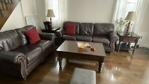 leather sofa loveseat and coffee tables