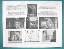 ARCHITECTURE Roman Houses Interiors Plans - 1870s Superb Print